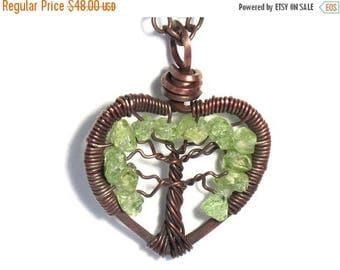20% OFF Vacation SALE The Mini Heart Shaped Tree of Life Antiqued Copper Necklace in Peridot.
