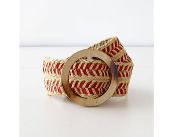 Straw Cinch Belt • Red Statement Belt • Woven Belt • Corset Belt • Vintage Belt • Jute Belt • Wood Belt Buckle    BT315