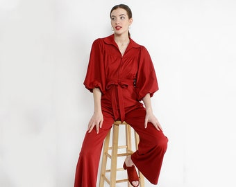 70s Jumpsuit S/M • Retro 70s Jumpsuit • 70s Flared Jumpsuit • Vintage Red Jumpsuit • Red Jumpsuit  Women • Vintage Jumpsuit Women • D1804