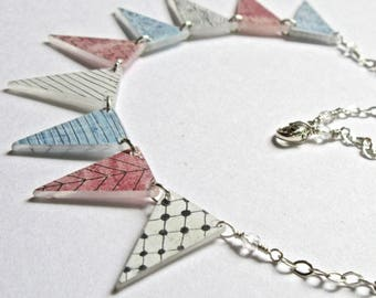 Bunting Necklace- hand painted shrink plastic and sterling silver