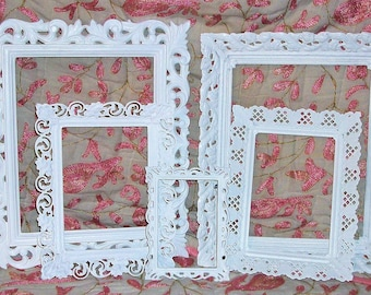 Set of 5 Shabby Chic Bright White Oval and Circular Filigree Picture Frames for Gallery Wall, Wedding Decor, Nursery Decor Frames