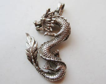 Vintage Sterling Silver Year of the Dragon Necklace Pendant