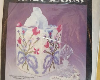 Victorian Pop Up Tissue Box Cover Plastic Canvas Kit Needlecraft Ala Mode S90 343 Flowers Floral NIP