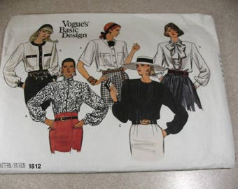 Vintage Vogue Blouse Pattern 1812, Size 8-10-12