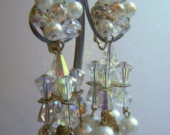 ANNIVERSARY SALE Carnegie Chandelier Earrings with Crystals and Pearls