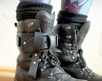 Unisex Leather Boot Garter - Black - steampunk - burning man - apocalypse - mad max, Please read Description for size