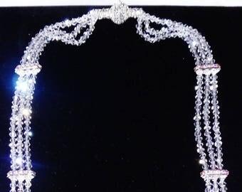 "HANDMADE 3 progressive Strands 36"" long 4mm Clear Crystal Swarovski Necklace"