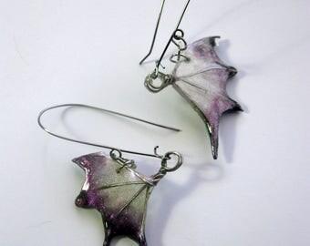 FIRE POLISHED resin bat wings or dragon wings earrings