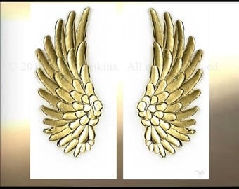 Painting on Canvas Wings Gold wall Decor Art Oil Original Angel Artworks White illustration by OTO