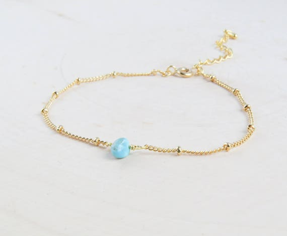 Turquoise Bead Bracelet in Gold