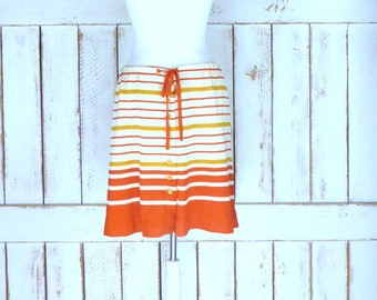 Vintage Bobbie Brooks orange/tan striped button down scooter skirt/stretch knit mini skirt/short knee length button front skirt/medium/large