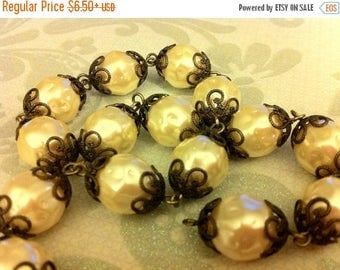 SALE LC3 Huge Victorian wedding style faux pearl beaded chain 12mm pearls antique brass caps