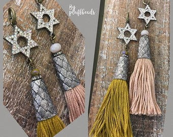 SALE New Charm chunky rustic cap french cotton TASSEL Ochre or Blush Star of David rustic rhinestone embellished American Artisan