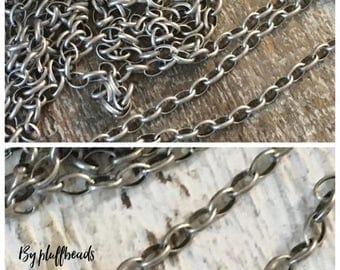 ON SALE Oval rolo chain 2x3mm soldered solid brass PETITE antique Silver plating