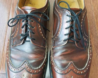 Vintage Brown Leather Doc Marten Dr Marten Size 9.5 Mens Wingtips 5 Eye Made in England 1980s 1990s As Is