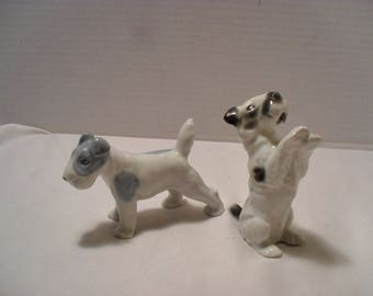 Lot of 2 Vintage Fine China Scotty Scottie Dog Collectible Figurines
