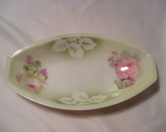 Small Trinket Rose Transfer Pattern German Style China Dish or Tray