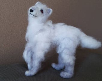 Ghost Game of Thrones dire wolf needlefelted