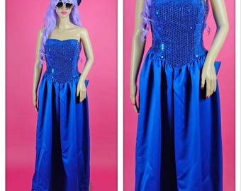 Vintage 1980s Blue Sequin Strapless Sweetheart Prom Dress with Big Bow