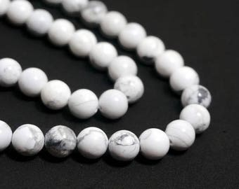 8mm white Howlite beads, round natural gemstone bead, full & half strands available   (616S)