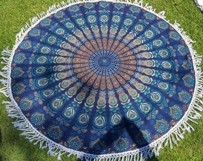 Navy Blue Peacock Mandala Roundie with White Fringe Mandala Tapestry Beach Blanket Yoga Mat Meditation Mat Dorm Decor Hippie Tapestry