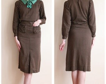 1930s Dress // Perfect Deco Polka Dot Dress // vintage 30s dress