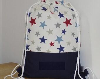 Boys drawstring bag, backpack for kids, childrens swim bag, waterproof rucksack - stars
