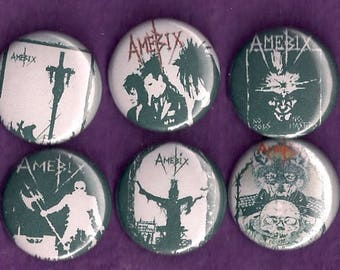 "Amebix 1"" Pins Buttons Badges Set 6 Crust Punk Metal band UK 1980s"