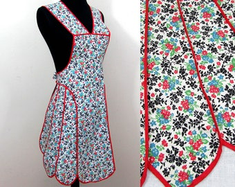 Vintage Bib Apron - multi floral cotton with red trim - 1940s-50s