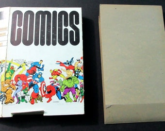 1973 Marvel Comics comic book storage box by Jim Steranko:Spider-man,Avengers,Hulk,Thor,Ironman,Captain America,Fantastic Four,Silver Surfer