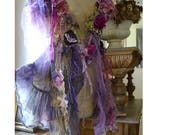 RESERVED Beautiful Unique Art To Wear Feminine  Summer Jacket/Vest  Queen of the PURPLE FOREST Fairy  Antoinette Gipsy Tattered
