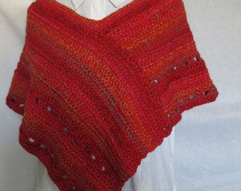 Red Poncho, Short, Shoulder Wrap, Handmade Crochet knit, Springtime, Gift, Womans, Mans, Trending, Spring Cover, Mini, Shawl, Wrap