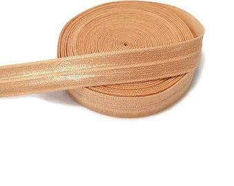 "Nude Fold Over Elastic - Elastic Ribbon - Elastic by the Yard - 5 Yards of Elastic Ribbon - Headband Elastic - FOE - 5/8"" Elastic"
