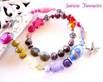 Stackable Ombre Wrap Bracelet with Czech Glass Bead & Natural Gemstones in shades of Brown, Pink, Red, Purple and Mustard