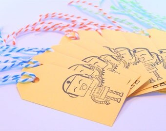 ROBOT Tags - Qty 12 - Small Tag - 1 5/8 x 3 1/4 inches - Favor tag - Robot birthday - Robot party - Boys Birthday - yellow gift tags