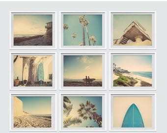 WEEKEND SALE Set of 9 Surf Beach Decor Photo prints, beach photos, , yellow, turquoise, sunset, retro, vintage surf home decor, beach wall a