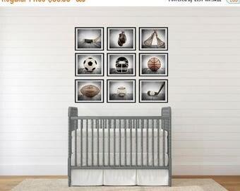 FLASH SALE til MIDNIGHT On Sale The Sports Collection in Grey Tones Set of Nine photo prints, Nursery Decor, Rustic Decor, Vintage Sports De