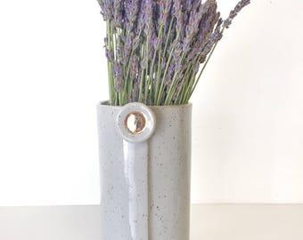 vase home decor Handmade ceramic planter garden in speckled grey and gold