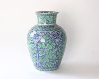 Large Vintage Green and Blue Porcelain Vase