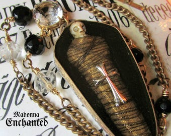Madonna Enchanted skull coffin necklace memento mori voodoo carved bone religious Victorian gothic goth skeleton one of a kind assemblage