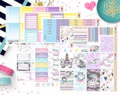 Let's Be Unicorns Weekly Sticker Kit - Planner Stickers - Travelers Notebook Stickers - Valentine's Day Stickers