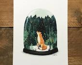 SNOW GLOBE FOX // Signed A4 print