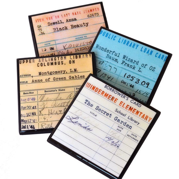 Book Lovers Coaster Set Library Due Date Card Wood Coasters