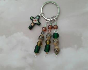 Beaded Key Chain with Cross