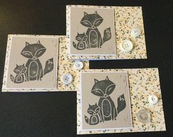 Handstamped Fox Card Set, Floral Cards with Hand Carved Stamp, Woodlands Cards, Blank Stamped Cards