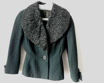 50s 'New Look' style green jacket with lambs wool collar XS