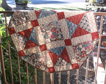 Quilted octagonal table topper floral table topper