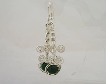 Green Aventurine Earrings, Wire Wrapped Earrings, Handmade Aventurine Earrings, Earrings in Green