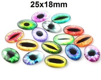 10 pcs Oval Dragon Cat Eyes Glass Round Dome Seals Tiles Cabochons - 25mm x 18mm - Assortment - 25x18mm - 6mm Thick