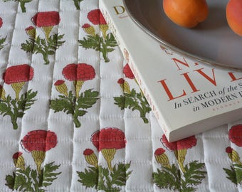 Marigold Hand Block Printed Table Mats , Quilted Cotton Printed Placemats , Red and White Block Printed Placemants , Quilted Table Mats